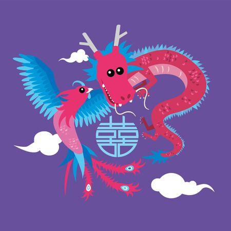 Cute dragon and phoenix