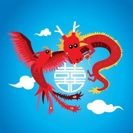 Cute dragon and phoenix Vector Illustration