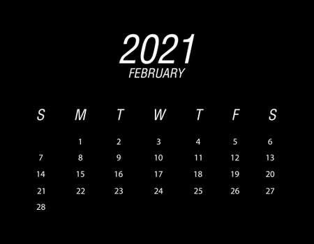 Template of calendar 2021 February Ilustrace
