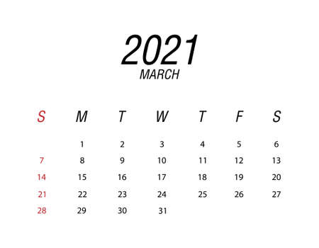 Abstract and modern calendar of 2021 March