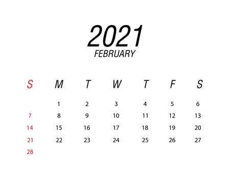 Abstract and modern calendar of 2021 February