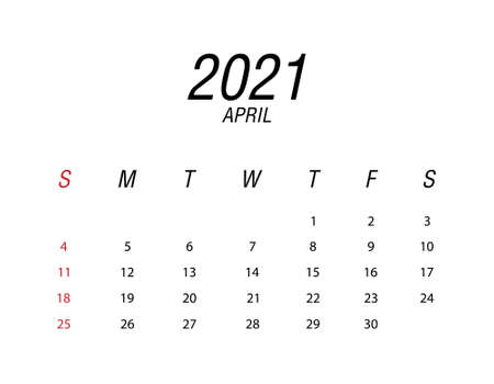 Abstract and modern calendar of 2021 April