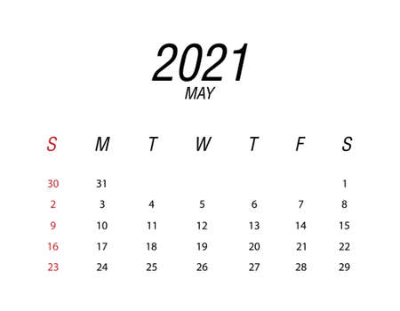 Abstract and modern calendar of 2021 May Ilustrace