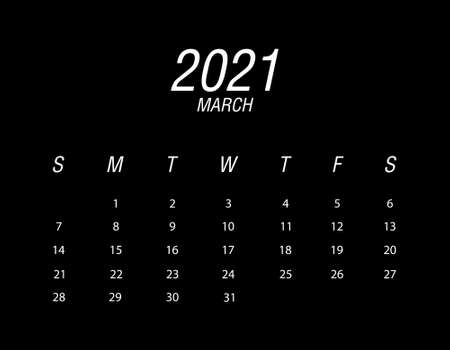 Template of calendar 2021 March Ilustrace