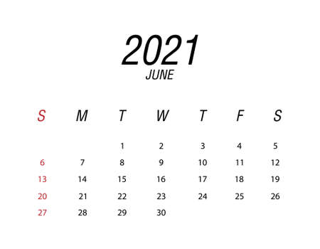 Abstract and modern calendar of 2021 June Ilustrace