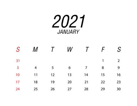 Abstract and modern calendar of 2021 January