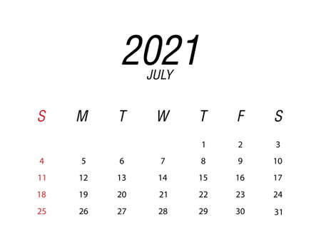 Abstract and modern calendar of 2021 July