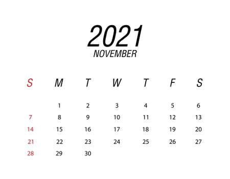 Abstract and modern calendar of 2021 November