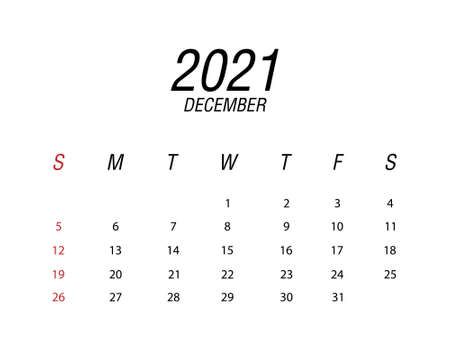 Abstract and modern calendar of 2021 December Ilustrace
