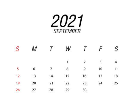 Abstract and modern calendar of 2021 September Ilustrace