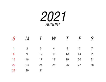 Abstract and modern calendar of 2021 August Ilustrace