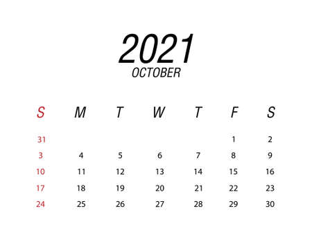 Abstract and modern calendar of 2021 October Ilustrace
