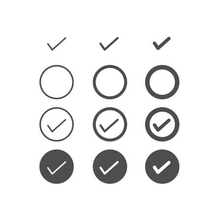Set of tick or check icon