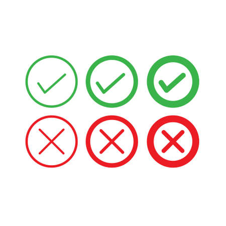 Set of yes and no icon Ilustrace