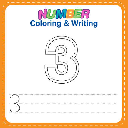 Number coloring and writing for children