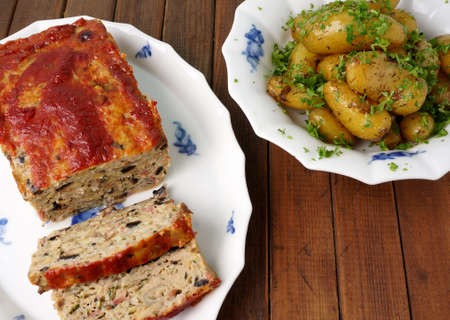 Turkey meatloaf with roasted potatoes photo