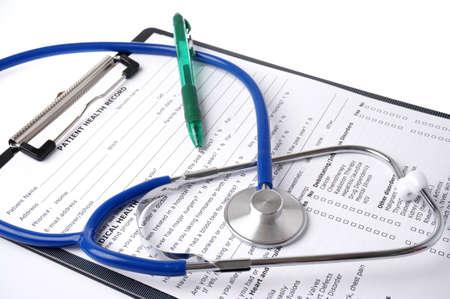 Krankenblatt mit Stethoskop Standard-Bild - 30492114
