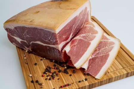 dryed: Whole prosciutto italian ham sliced for sandwich Stock Photo