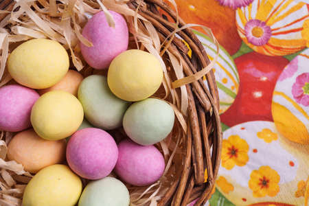 holliday: Easter Egg in Basket. Colourful Holliday eggs