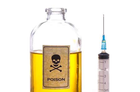 veneno frasco: Botella de veneno, la muestra del vintage y aislado en blanco