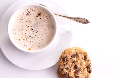 pressurized: Cup of Cappuccino with cookies, isolated on White Stock Photo