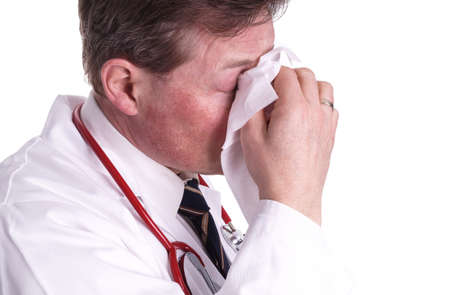 Also, a doctor can have a cold and need for treatment and care Stock Photo