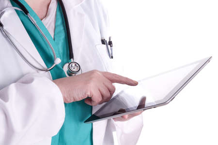 Female doctor is using a digital tablet in her work photo