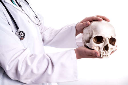 showed: Doctor holding a skull in his hands. She shows the skull forward in a teaching situation or when she explains her patient what the patient study showed