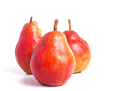 Ripe Organic Healthy Red Pear isolated on White