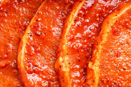 white meat: Raw marinated meat for bbq, pork chop Stock Photo