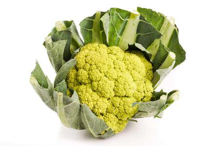 head of cauliflower: Fresh healthy Green organic Cauliflower head isolated on white