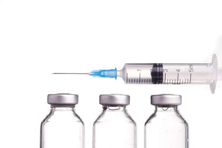vials: Medical vials and Syringe, Isolated on White