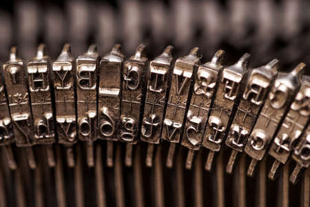 Details on antique typewriter. Vintage and retro Stock Photo