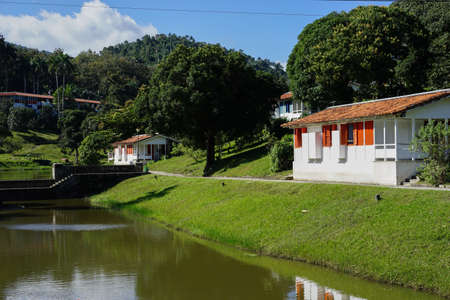 pioneering: Havana, Cuba - January 7, 2016: Houses in the town of La Terraza, which are brought in connection with a forest restoration project. Today inhabited the city primarily of people who earn their living by eco tourism in forest project