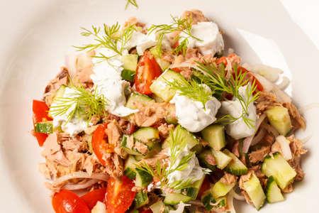 tuna salad: Fresh healthy Tuna salad with dill dressing Stock Photo