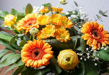 red gerber daisy: bouquet of orange flowers, perfect for Mothers day or birthdays. Peonies, Bridal Veils, green leaves and daisies