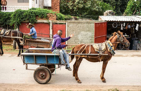 capita: Trinidad, Cuba - January 14, 2016: Trinidads residents still use horse-drawn carriages as the preferred vehicle. Cuba has one of lowest vehicle per capita rates in the world