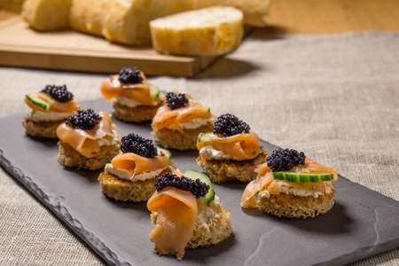 amuse: Smoked Salmon Appetizer with Cream Cheese and Caviar