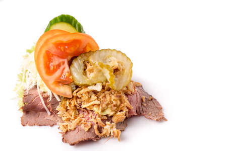 Danish specialties and national dishes, high-quality open sandwich,Roast beef with remoulade and roasted crisp onions, isolated on white background Stock Photo