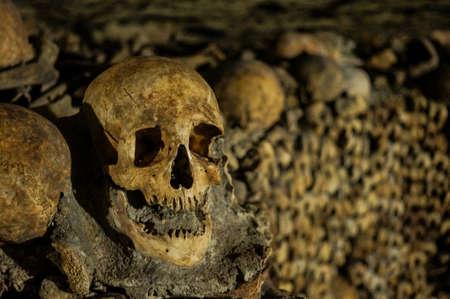 互いの上に骨、骨格や頭蓋骨のスタック