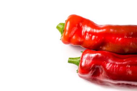 Red organic snack pepper, bellpepper isolated on white background