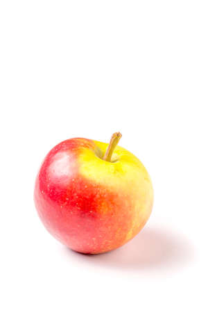 one red green organic apple isolated on white background 免版税图像