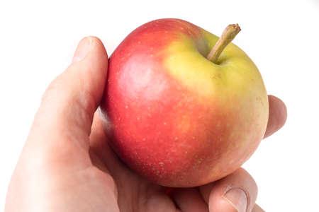 causasian hand holding apple isolated on white background Standard-Bild