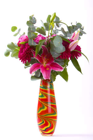 Bouquet in a Colorful Vase