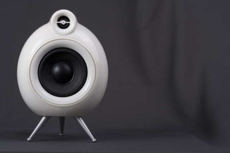 White speaker against grey background  photo