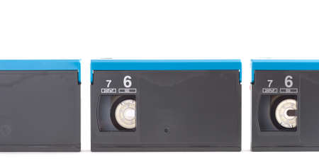 digital tapes in one row Stock Photo