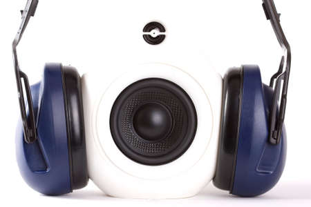 White design speakers with headphone  photo
