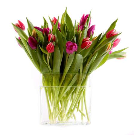 Vase full of colorfull tulips
