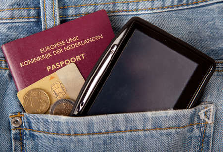 creditcards: Navigation, passport and creditcards stored in pockets