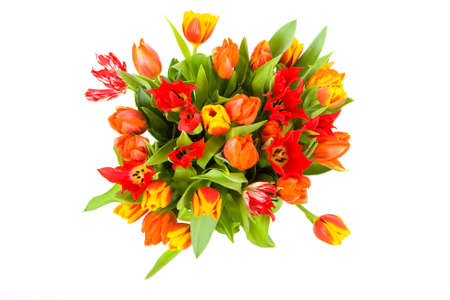top view of vase with tulips Stock Photo